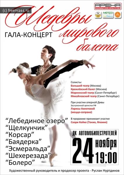 Афиша Гала-концерт Шедевры мирового балета (Миасс)